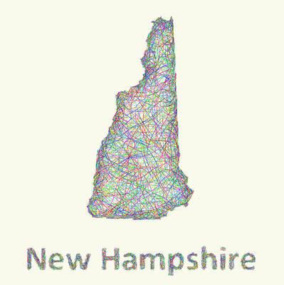 New Hampshire Line Art Map Print by David Zydd