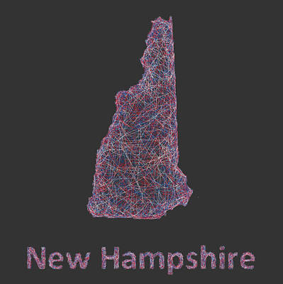 New Hampshire Map Print by David Zydd