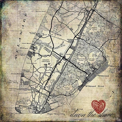 Nj Mixed Media - New Jersey Map by Brandi Fitzgerald