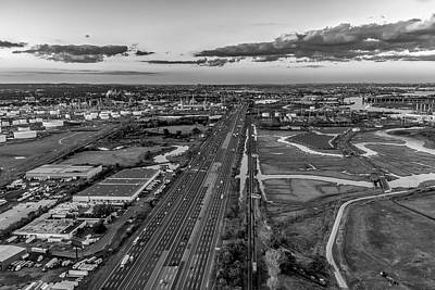 Aerial Photograph - New Jersey Turnpike Aerial View Bw by Susan Candelario