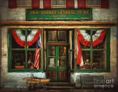 Bunting Digital Art - New Market General Store by Lois Bryan