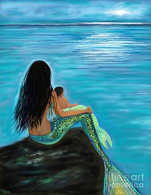 Painting - New Mermaids Baby by Leslie Allen