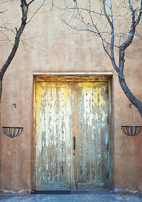 Framed Old Town Door Photograph - New Mexico Adobe Painted Doors by Andrea Hazel Ihlefeld