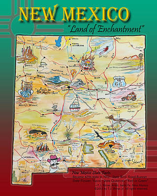 Las Cruces Painting - New Mexico Map Land Of Enchantment by Tom Shinas