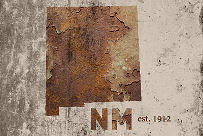 New Mexico State Map Industrial Rusted Metal On Cement Wall With Founding Date Series 047 Print by Design Turnpike