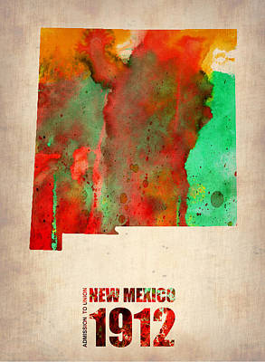 Mexico Digital Art - New Mexico Watercolor Map by Naxart Studio