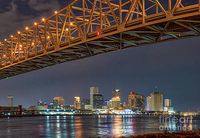 Night Photograph - New Orleans Bridge And Skyline by Tod and Cynthia Grubbs