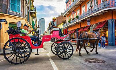Mule Digital Art - New Orleans - Carriage Ride 2 - Paint by Steve Harrington