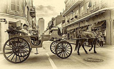Carriage Photograph - New Orleans - Carriage Ride 2 - Sepia by Steve Harrington