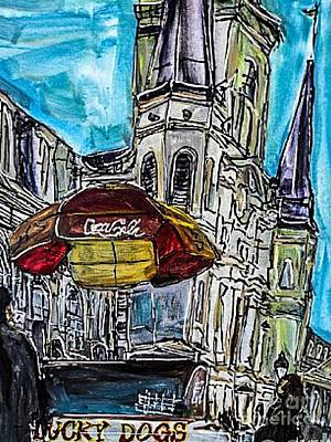 Lucky Dogs Painting - New Orleans In The Square by Paula   Baker