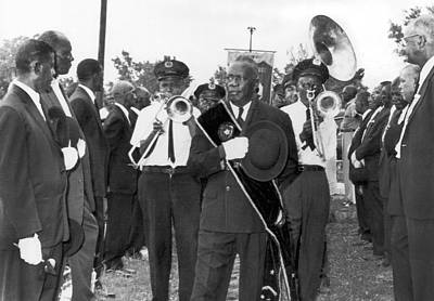 Jazz Musician Photograph - New Orleans Jazz Funeral by Underwood Archives