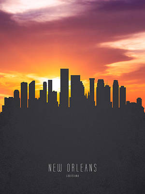 New Orleans Louisiana Sunset Skyline 01 Print by Aged Pixel