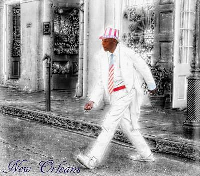 New Orleans Oil Painting - New Orleans Mime Patriot by Barbara Chichester