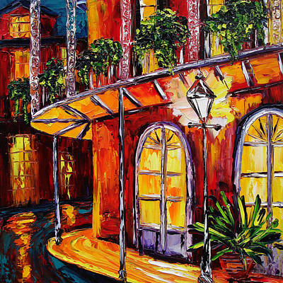 Courtyard Painting - New Orleans Original Oil Painting French Quarter Glow by Beata Sasik