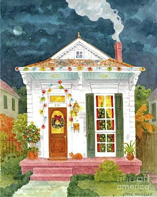 Christmas Eve Painting - New Orleans Shotgun At Christmas by Joyce Hensley