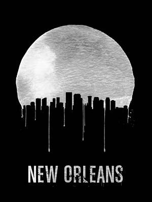 New Orleans Skyline Black Print by Naxart Studio