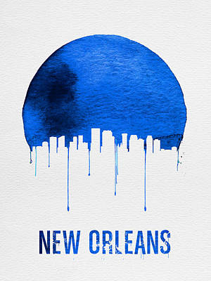 New Orleans Skyline Blue Print by Naxart Studio