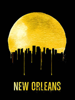 New Orleans Skyline Yellow Print by Naxart Studio
