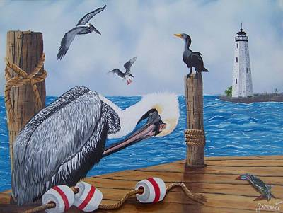 Sea Birds Painting - New Point Pelican by Debbie LaFrance