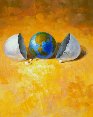 Egg Print featuring the painting New World by Andrew Judd