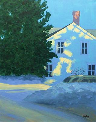 Maine Winter Painting - New Year by Laurie Breton