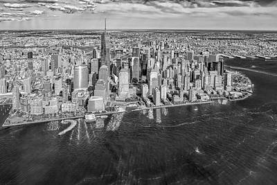 New York City Aerial View Bw Print by Susan Candelario