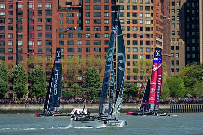 Water Skippers Photograph - New York City America's Cup by Susan Candelario