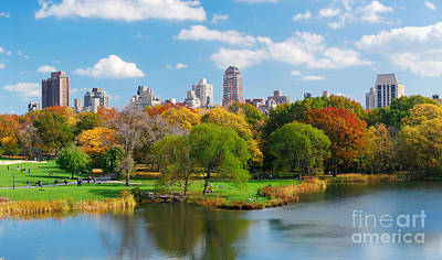 New York City Central Park Panorama View In Autumn With Manhattan Skyscrapers And Colorful Trees Ove Print by Caio Caldas