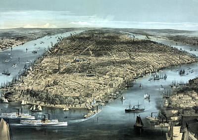River View Painting - New York City Circa 1850 by War Is Hell Store