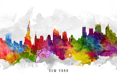 Cities Digital Art - New York City Cityscape 13 by Aged Pixel