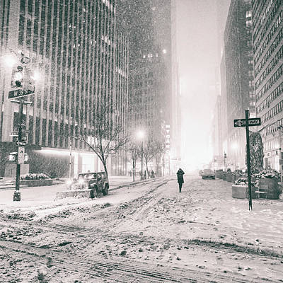 Snowstorm Photograph - New York City - Empty Streets by Vivienne Gucwa