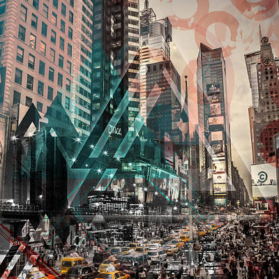 Times Square Digital Art - New York City Geometric Mix No. 4 by Melanie Viola