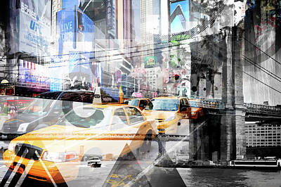 Times Square Digital Art - New York City Geometric Mix No. 9 by Melanie Viola