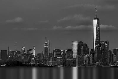 New York City Skyline Photograph - New York City Icons Bw by Susan Candelario