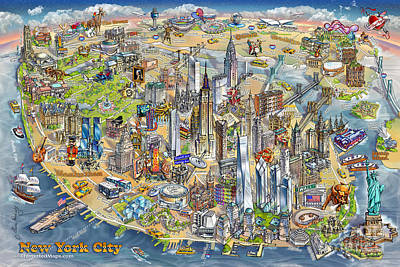 Warner Park Painting - New York City Illustrated Map by Maria Rabinky