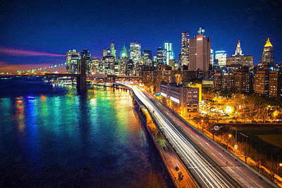 Digital Pastel Painting - New York City Lights Blue by Tony Rubino
