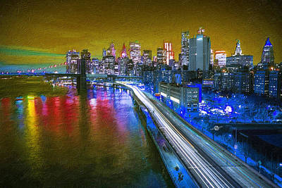 Digital Pastel Painting - New York City Lights Gold by Tony Rubino