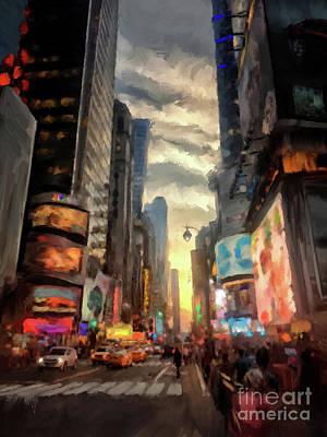 New York City Lights Print by Lois Bryan