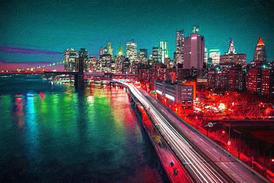 Digital Pastel Painting - New York City Lights Red by Tony Rubino