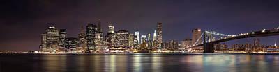 Photograph - New York City - Manhattan Waterfront At Night by Thomas Richter