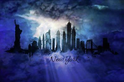 Hong Kong Mixed Media - New York City Skyline At Night by Lilia D
