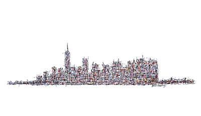 Greenwich Village Drawing - New York City Skyline by Brian Keating