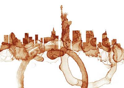 City Painting - New York City Skyline - Coffee  by Prarthana Kulasekara