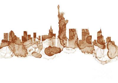 City Painting - New York City Skyline - Coffee Stains Painting by Prar Kulasekara