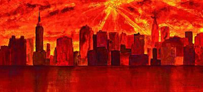 New York City Skyline Golden Sunrise Original by Ken Figurski
