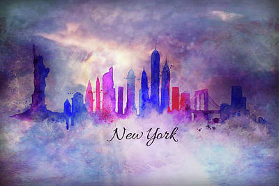 Hong Kong Mixed Media - New York City Skyline In Watercolor by Lilia D