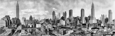 Nyc Digital Art - New York City Skyline Monochromatic by Edward Fielding