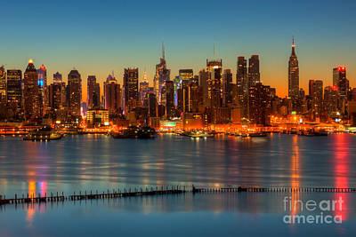 New York City Skyline Photograph - New York City Skyline Morning Twilight V by Clarence Holmes