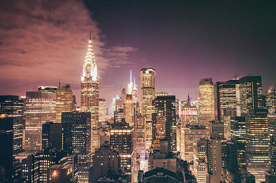 New York City Rooftop Photograph - New York City Skyline - Night by Vivienne Gucwa