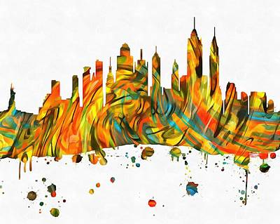 Statue Of Liberty Mixed Media - New York City Skyline Paint Splatter by Dan Sproul